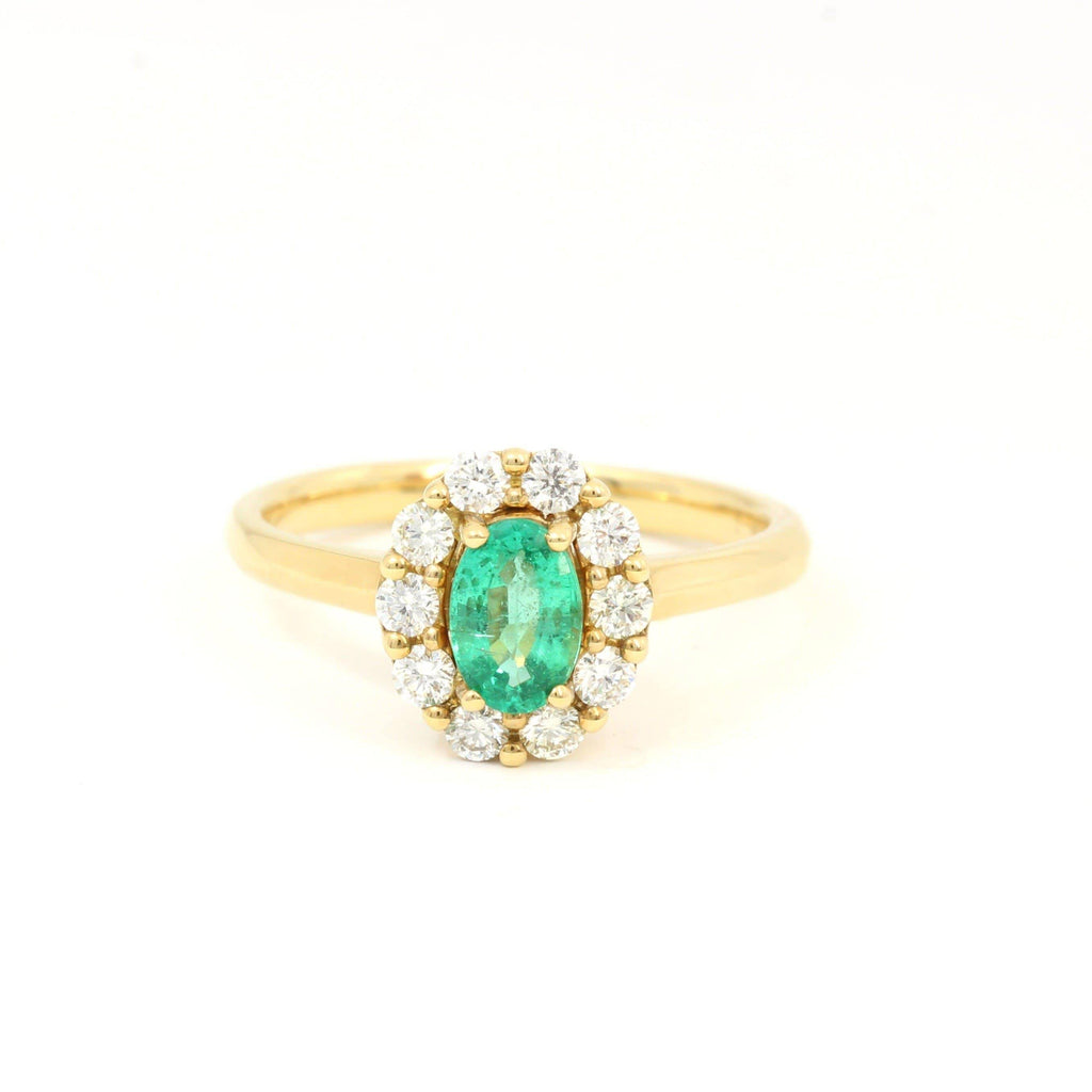 18k Yellow Gold Genuine Emerald Diamonds Halo Ring