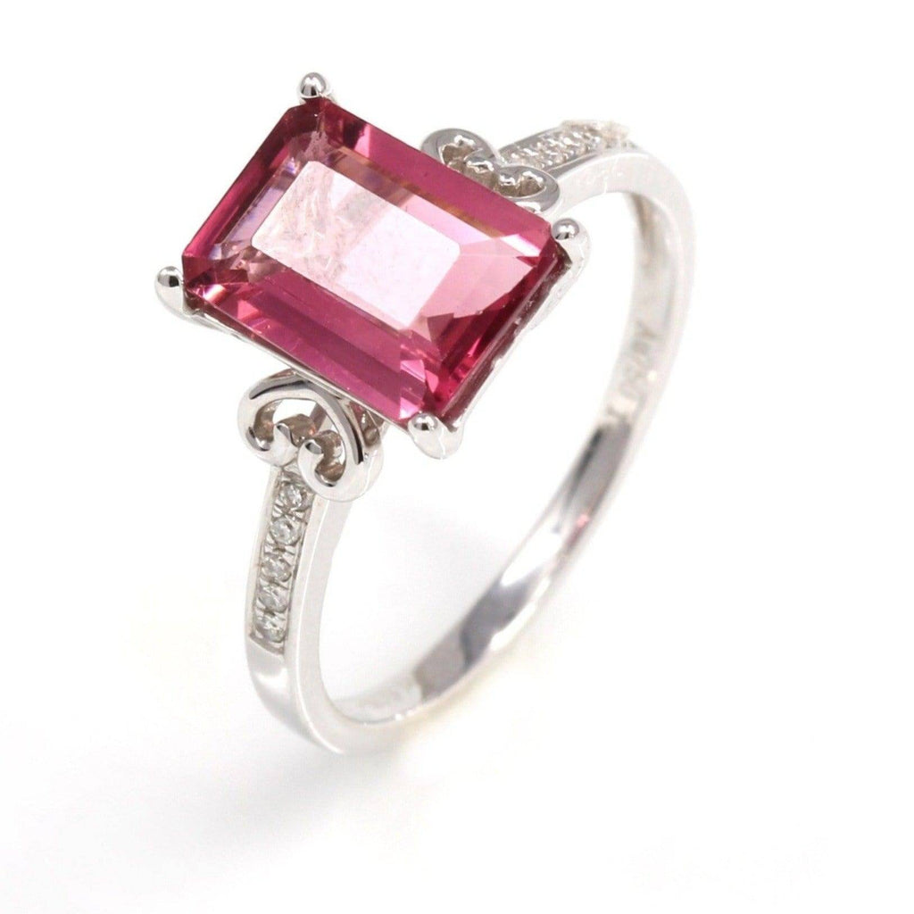 18k White Gold Natural Pink Tourmaline Diamond Ring