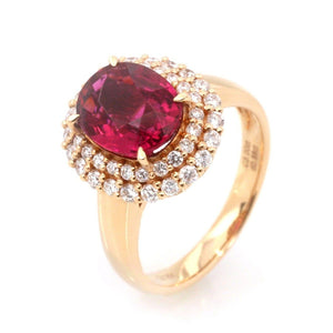 18k Rose Gold Natural Red Tourmaline with Diamonds Halo Ring