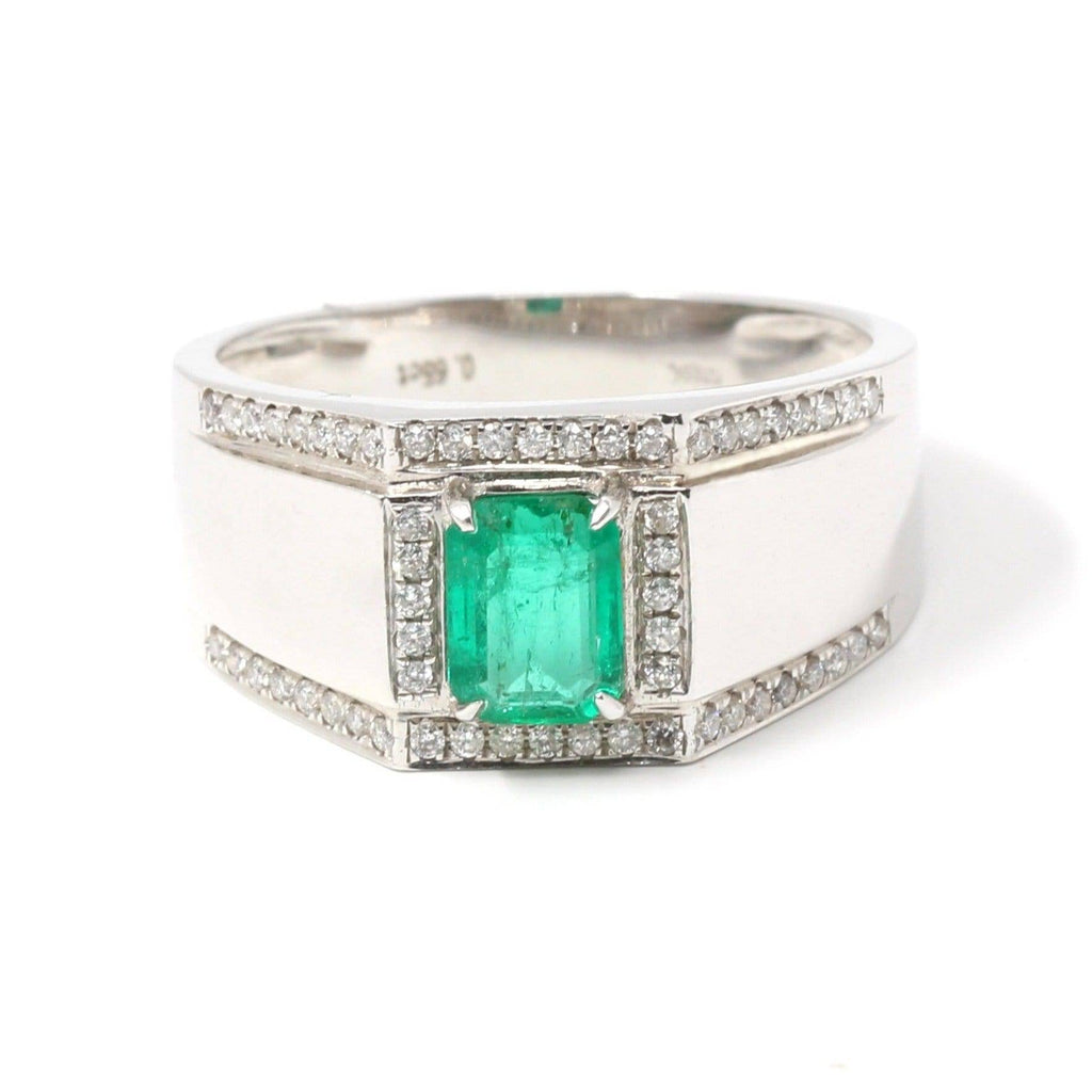 18k White Gold Natural 0.65 ct Emerald Men's Halo Ring Baikalla Jewelry