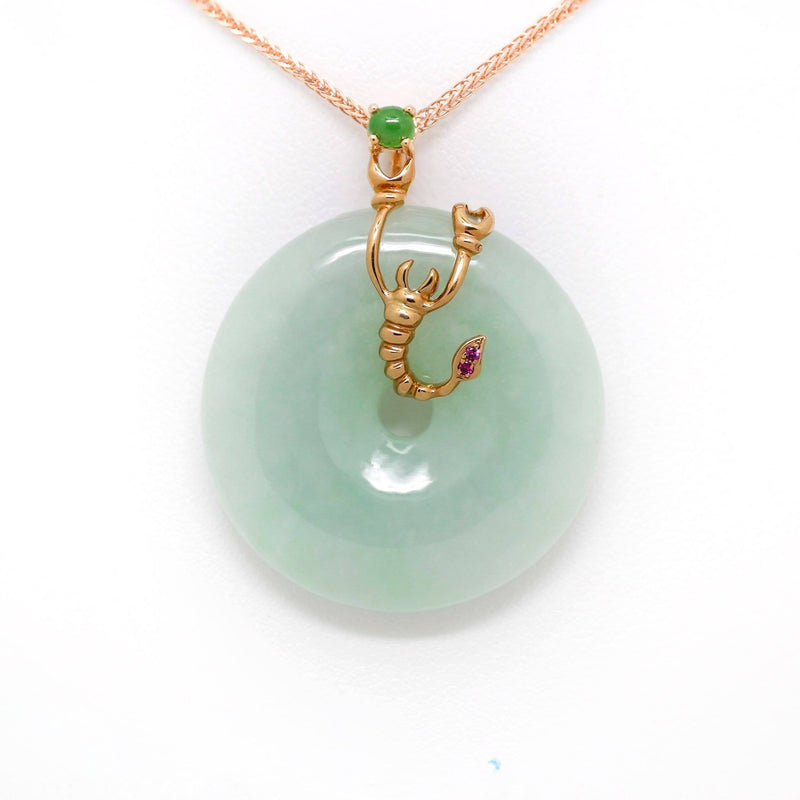 18k Rose Gold Genuine Burmese Jadeite Constellation (Scorpio) Necklace Pendant with Ruby