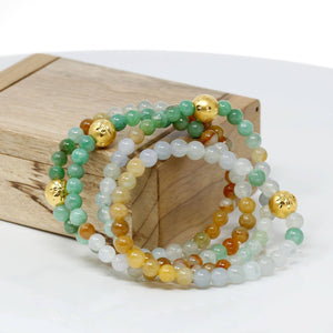Genuine High-quality Jade Jadeite Bracelet Bangle with 24k Yellow Gold Star Ball Charm Colorful  #417