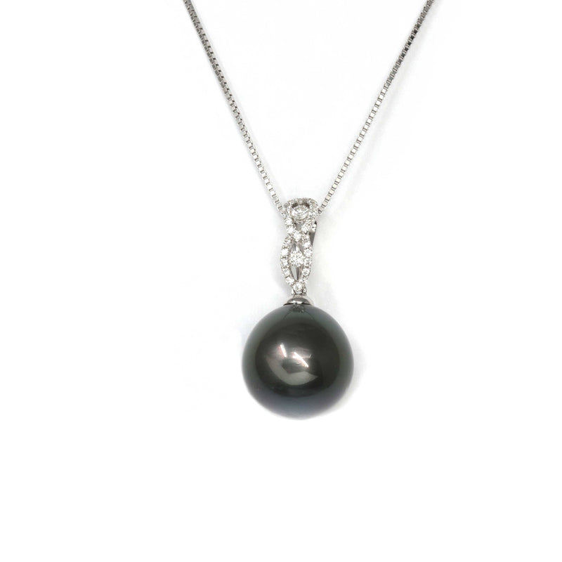 Baikalla Jewelry™ 18k Gold Round Black Tahitian South Sea Cultured Pearl & Diamond Michelle Pendant Necklace for Women in AAA Quality