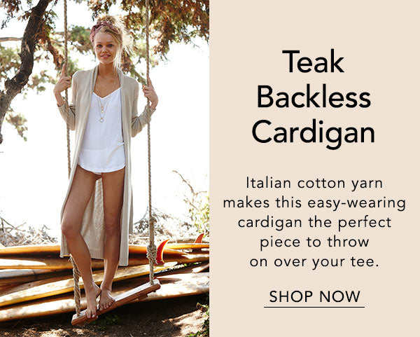 teak backless cardigan