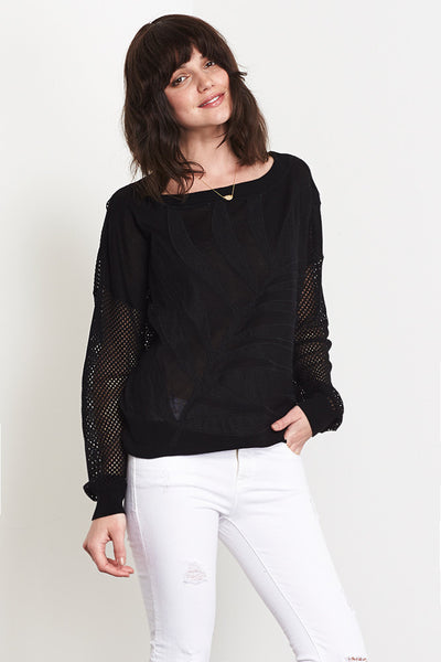 X_Mesh Applique Crew Neck Sweater | Black