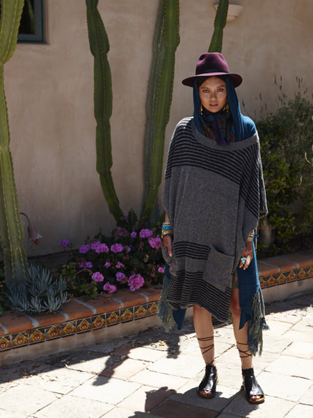 Felted Oversized Poncho | Charcoal & Black