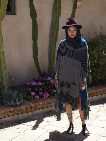 Felted Oversized Poncho | Charcoal & Black - Banjo & Matilda | International  - 1