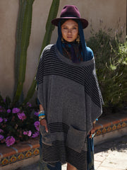 Felted Oversized Poncho | Charcoal & Black - Banjo & Matilda | International  - 3