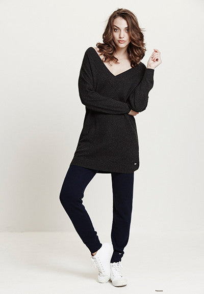 Cocktail V Neck Sweater | Charcoal