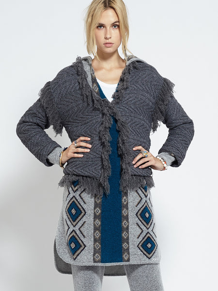 Moroccan Fringed Cardi | Charcoal