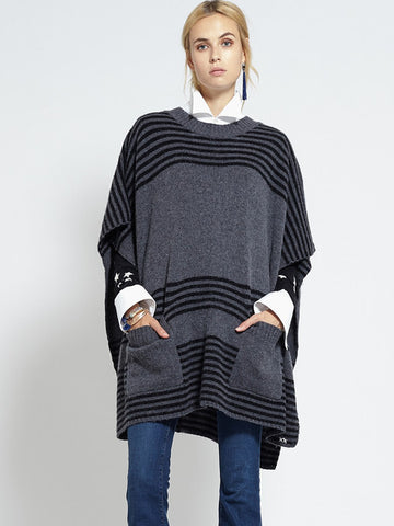Felted Oversized Poncho | Charcoal & Black - Banjo & Matilda | International  - 6