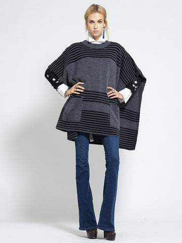 Felted Oversized Poncho | Charcoal & Black - Banjo & Matilda | International  - 5