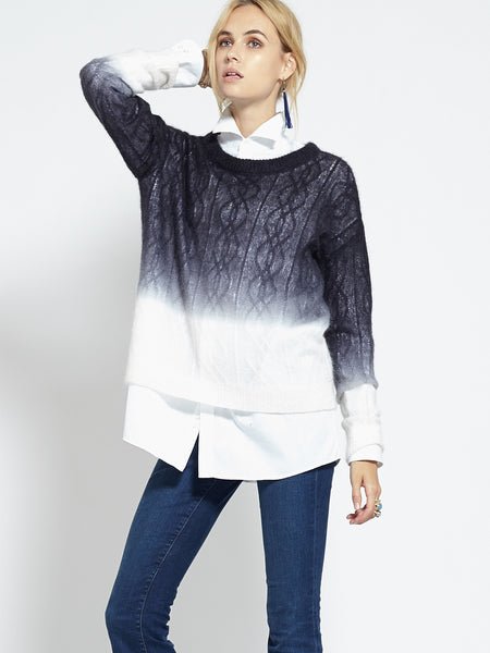 Ombre Cable Crew Neck Sweater | Black/Ivory