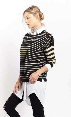 Multi Stripe Crew | Sand + Black - Banjo & Matilda | International  - 2