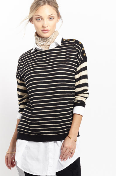 Multi Stripe Crew | Sand + Black