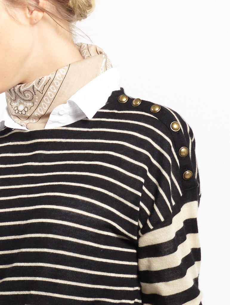 Multi Stripe Crew | Sand + Black - Banjo & Matilda | International  - 4