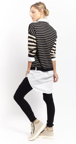 Multi Stripe Crew | Sand + Black - Banjo & Matilda | International  - 3
