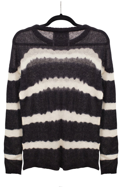 Stripe Tie Dye Crew Neck Sweater | Black/Ivory