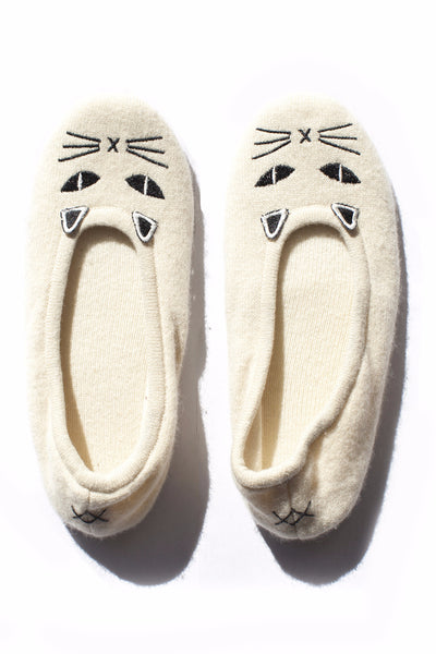 Cat Slippers | Ivory & Black