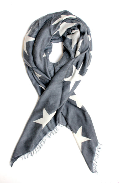Star Scarf | Grey & Ivory