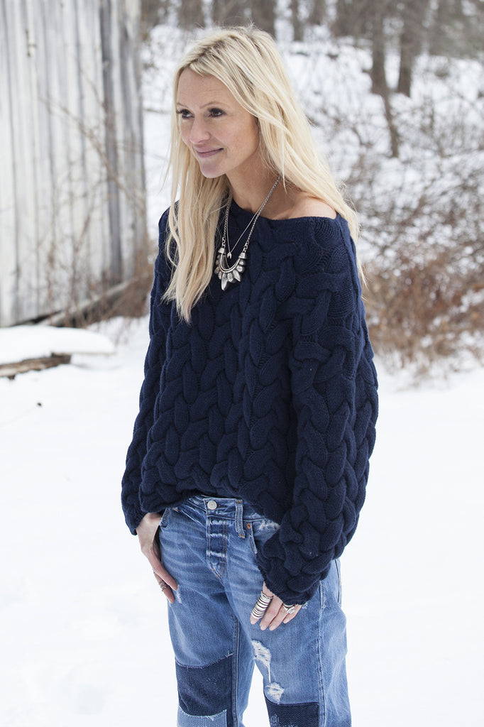 Plait Cable Sweater | Navy - Banjo & Matilda | International  - 1