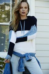 Colourblocked Hoodie | Blue Melange - Banjo & Matilda | International  - 1