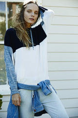 Colourblocked Hoodie | Blue Melange - Banjo & Matilda | International  - 2