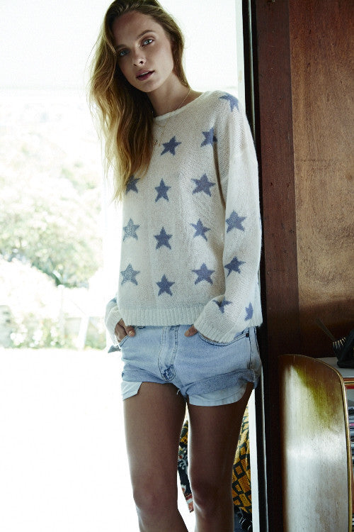 Fluffy Oversized Star Crew | Ivory & Sky - Banjo & Matilda | International  - 4