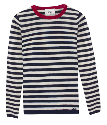Stripe Surfer Crew Neck Sweater | Navy/Ivory/Red