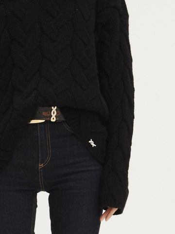 Blended Plait Cable Sweater | Black - Banjo & Matilda | International  - 3