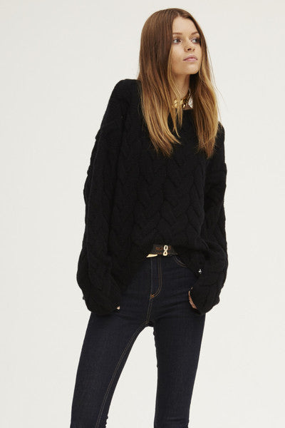 Blended Plait Cable Sweater | Black - Banjo & Matilda | International  - 2
