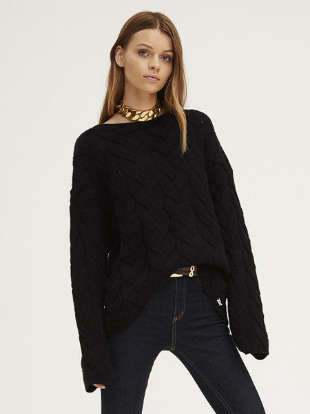 Plait Cable Sweater | Black