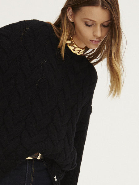 Blended Plait Cable Sweater | Black - Banjo & Matilda | International  - 4
