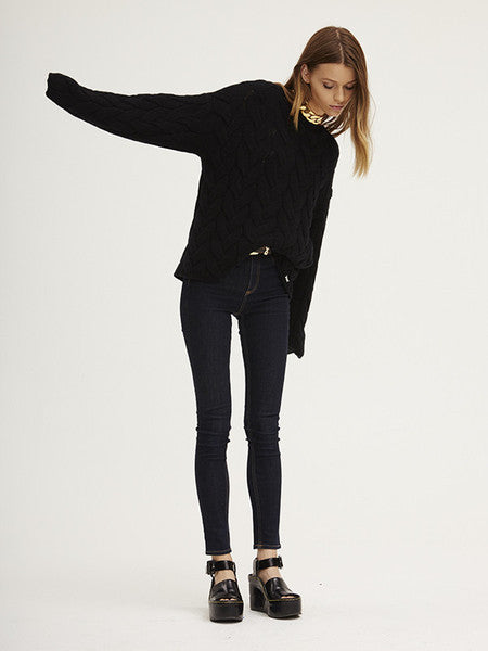 Blended Plait Cable Sweater | Black - Banjo & Matilda | International  - 5
