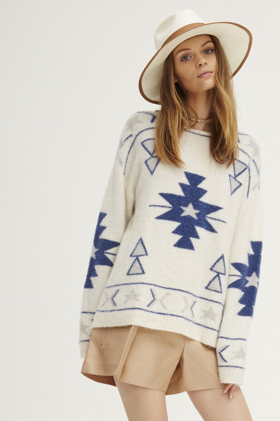 Felted Navaho Crew Neck Sweater | Ivory