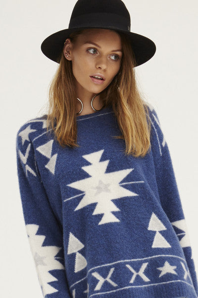Felted Navaho Crew Neck Sweater | Blue