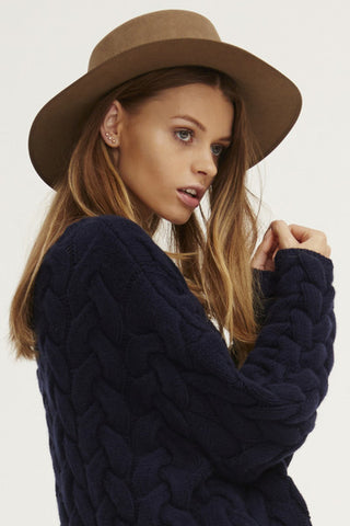 Plait Cable Sweater | Navy - Banjo & Matilda | International  - 2
