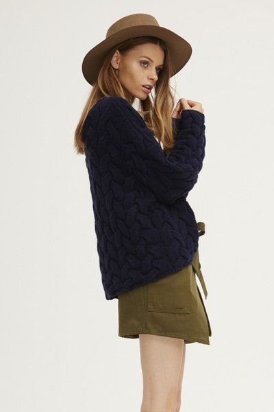 Plait Cable Sweater | Navy - Banjo & Matilda | International  - 11