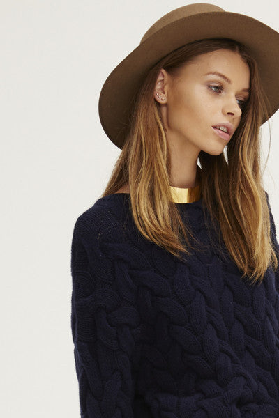 Plait Cable Sweater | Navy - Banjo & Matilda | International  - 8