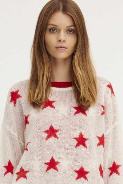Fluffy Oversized Star Crew | Ivory/Poppy