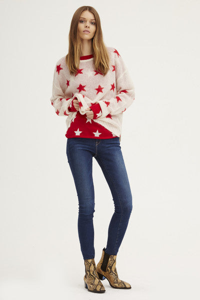 Fluffy Oversized Star Crew | Ivory/Poppy - Banjo & Matilda | International  - 2