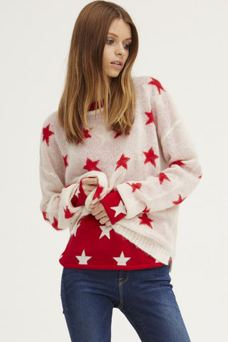 Fluffy Oversized Star Crew | Ivory/Poppy - Banjo & Matilda | International  - 3