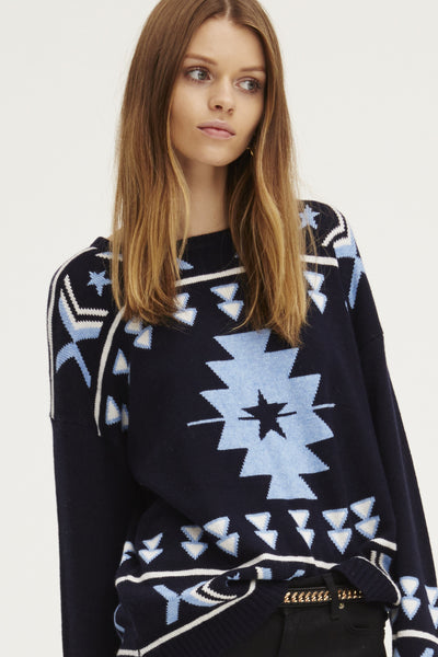 Navaho Crew Neck Sweater | Blue