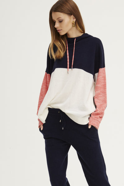 Colourblocked Hoodie | Poppy Melange