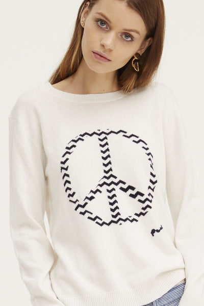 Chevron Peace Crew Neck Sweater | Ivory