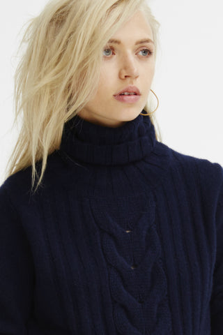 Speakeasy Cable Sweater | Navy - Banjo & Matilda | International  - 4
