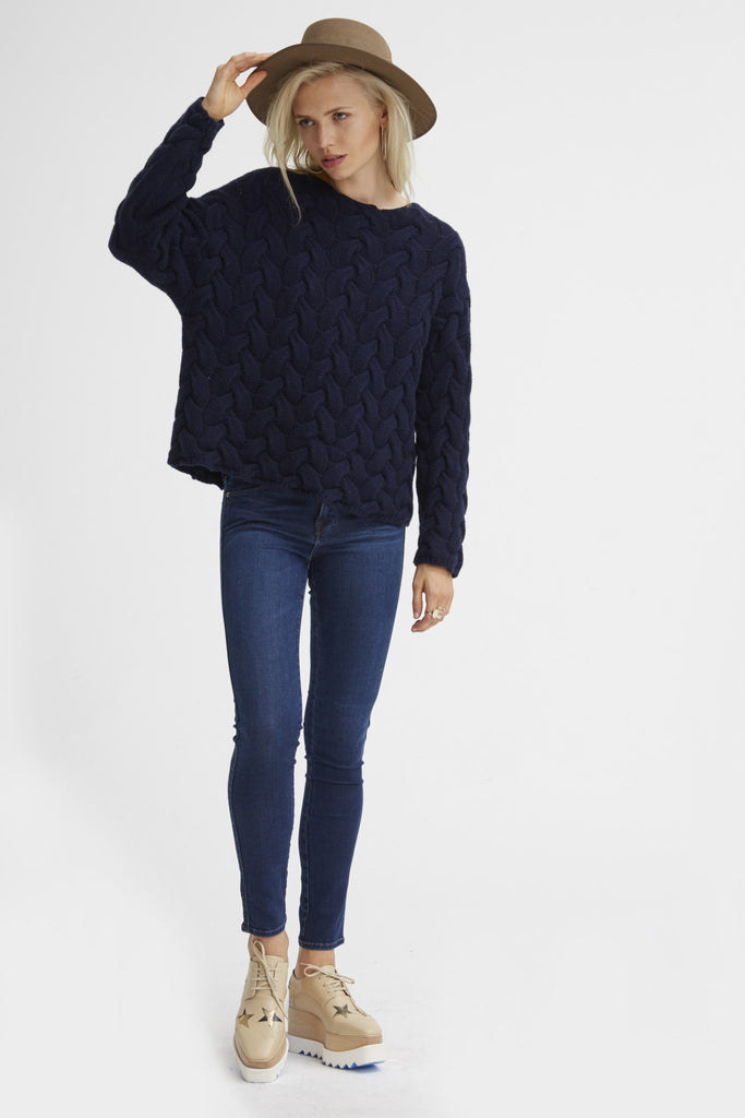 Plait Cable Sweater | Navy - Banjo & Matilda | International  - 6