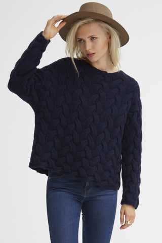 Plait Cable Sweater | Navy - Banjo & Matilda | International  - 3