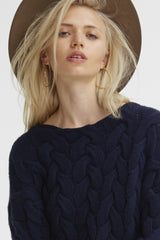 Plait Cable Sweater | Navy - Banjo & Matilda | International  - 4