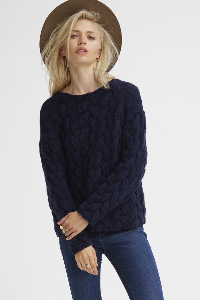 Plait Cable Sweater | Navy - Banjo & Matilda | International  - 7